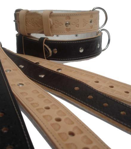 Obojek kožený podšitý zdobený 3,5 x 60