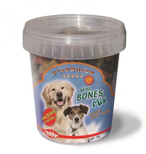 Nobby StarSnack Mini Bones Mix kyblík pamlsky pro psy 500g
