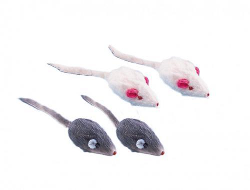Nobby hraèka plyšové myšky s chrastítkem 5cm (4ks)