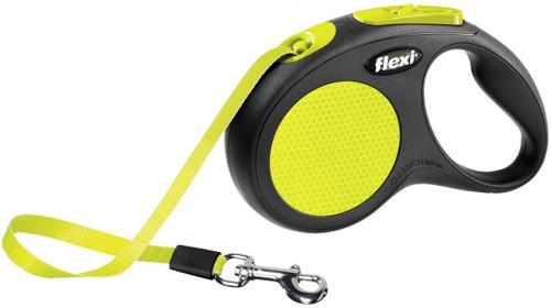 Flexi NEW NEON páskové vodítko S žlutá 5m do 15kg