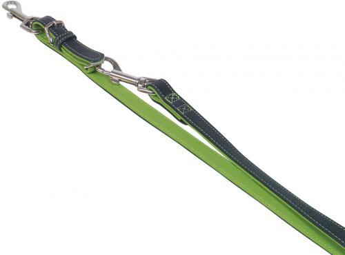 Nobby Pacific kožené vodítko zelené lemování S-M 200cm / 14mm
