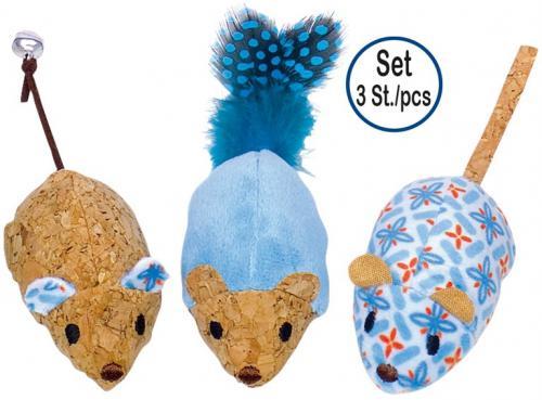 Nobby hraèka pro koèky sada tøí korkových myšek s catnipem 7/12 cm