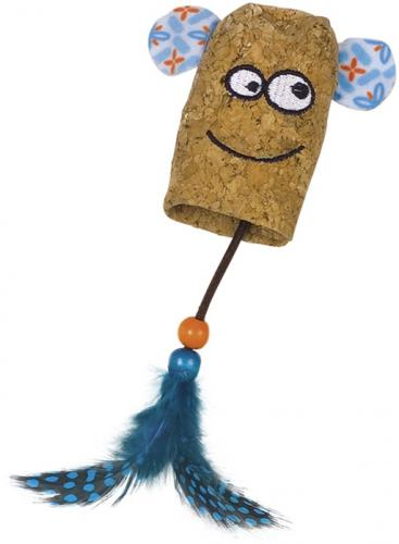 Nobby hraèka pro koèky korkový náprstník s peøím 16 cm