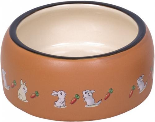 Nobby RABBIT keramická miska pro hlodavce hnìdo-bílá 14,5 x 5,5 cm