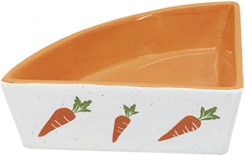 Nobby rohová keramická miska pro hlodavce oranžovo-bílá 12x12x5cm/0,25l
