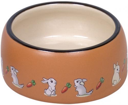 Nobby RABBIT keramická miska pro hlodavce hnìdo-bílá 12 x 5 cm