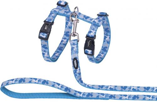 Nobby Camouflage postroj s vodítkem pro velké koèky svìtle modrý XL