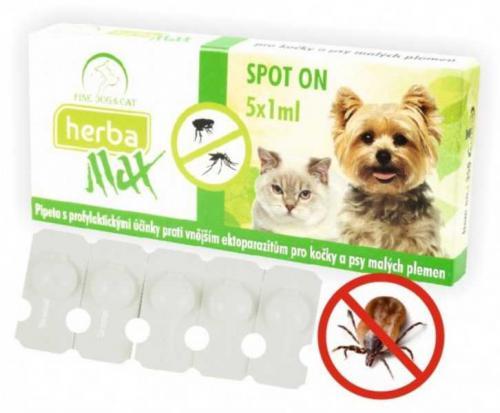 Max Herba Spot-on Dog & Cat antiparazatiní kapsle, pes a koèka 5 x 1 ml