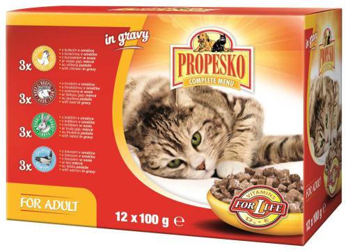 PROPESKO Cat hovìzí, kuøecí, jehnìèí a zvìøina, kapsa 100 g (pack 12 ks)