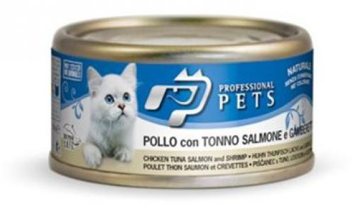 Professional Pets Naturale Cat kuøe, tuòák, losos a krevety 70g