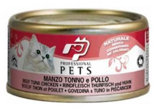 Professional Pets Naturale Cat konzerva hovìzí, tuòák a kuøe 70g