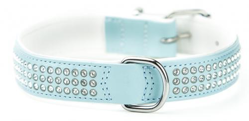 Nobby Crystal obojek se Swarovski krystaly M-L 47cm svìtle modrá