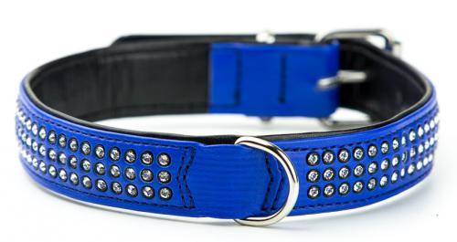 Nobby Crystal obojek se Swarovski krystaly M-L 47cm tmavì modrá